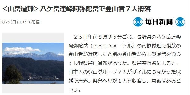 >八ヶ岳阿弥陀岳の滑落遭難事故