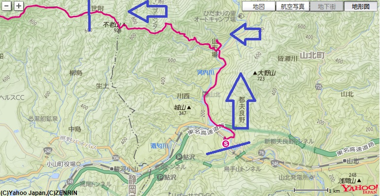 コース・標高差ボウズクリの滝~不老山~世附峠