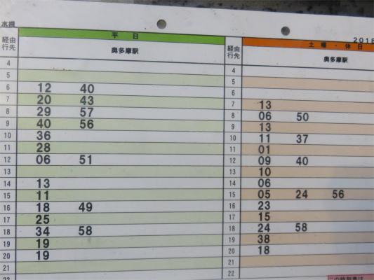 水根バス停の時刻表