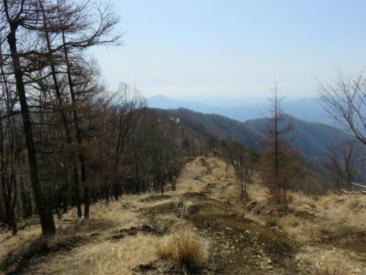 鷹ノ巣山から振り返っての石尾根縦走路
