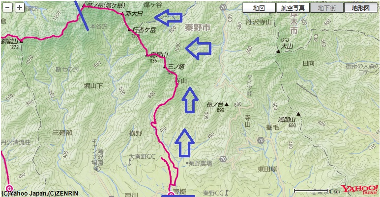 コース・標高差葛葉の泉~二ノ塔尾根~三ノ塔~烏尾山~塔ノ岳