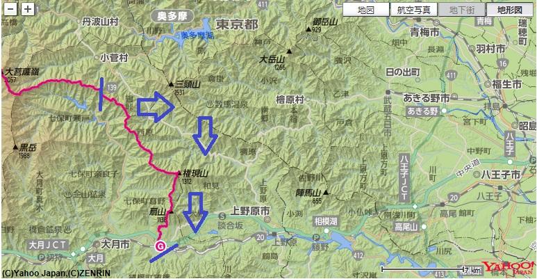 コース・標高差(大菩薩~奈良倉山~麻生山~権現山~扇山)