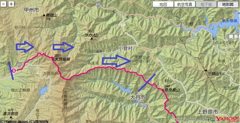 大菩薩嶺~大菩薩峠~榧ノ尾山~大マテイ山~鶴寝山~松姫峠のコース・標高差