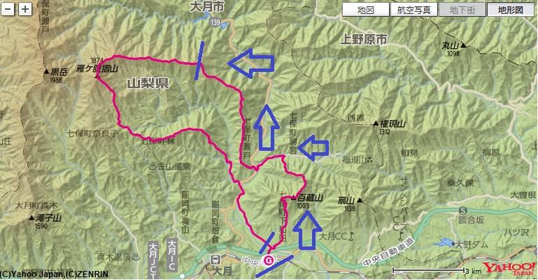 コース・高低差猿橋駅からスタートし、百蔵山、大峰