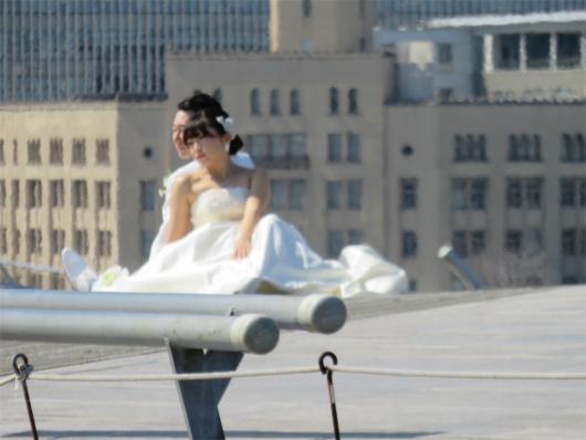 新郎新婦と横浜大桟橋