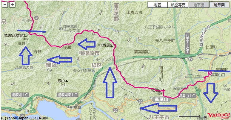 笹尾根日帰り縦走のコース・標高差(高尾山~陣馬山)