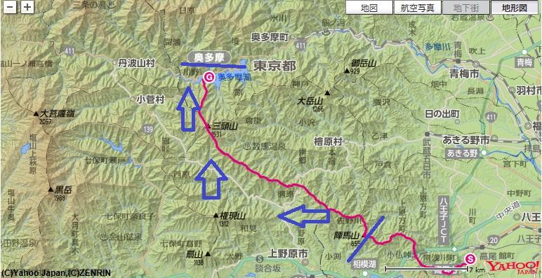 笹尾根日帰り縦走のコース・標高差(陣馬山山頂からスタートし三頭山、奥多摩湖)