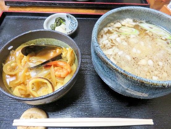 たぬき・ミニ海鮮カレー丼セット