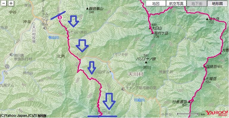 双門の滝・弥山川双門ルート八経ヶ岳のコース・標高差