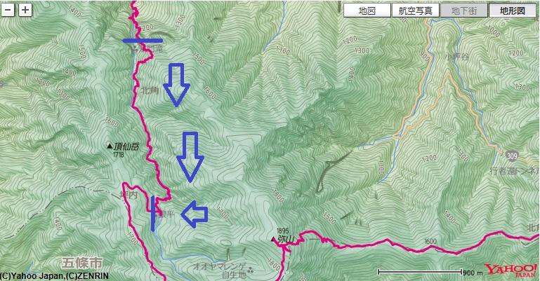 仙人嵓のテラス狼平避難小屋のコース・標高差