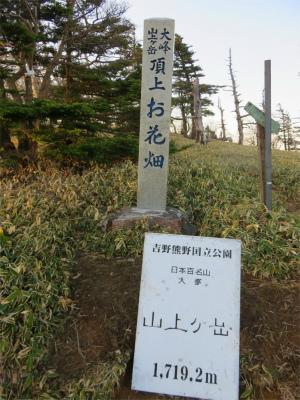 山上ヶ岳の標高は、1,719.2m