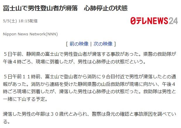富士山滑落事故ニュース