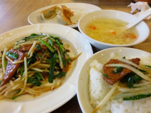 ランチメニューレバニラ炒め中華スープ