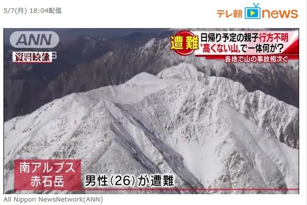 新潟県の阿賀野市で親子の登山者が遭難