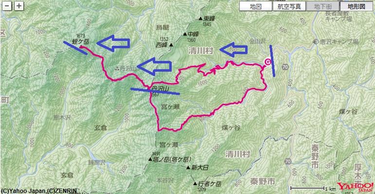 コース・標高差(塩水橋~堂平~丹沢山~蛭ヶ岳)