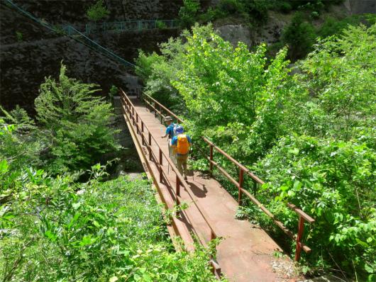 権現山北尾根の登山口付近の橋