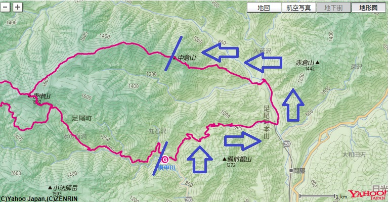 コース・標高差(足尾銅山~足尾銅親水公園~横場山~中倉山)