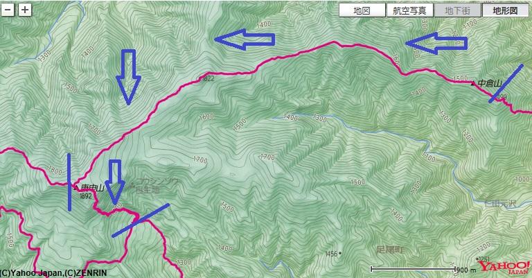 登山コース・標高差(かじか荘~庚申山荘~皇海山~鋸山)