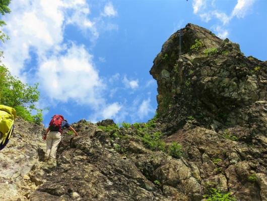 ローソク岩の横登山道