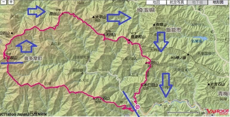 奥多摩大縦走コース・標高差雲取山~長沢山~天目山~川苔山~本仁田山