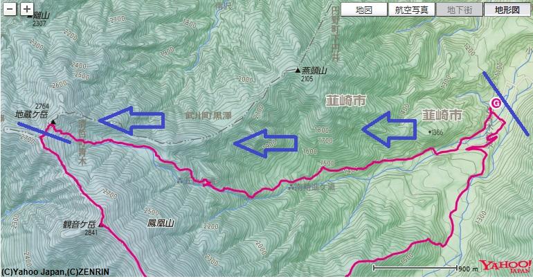 ドンドコ沢から鳳凰三山地蔵岳登山コース・標高差