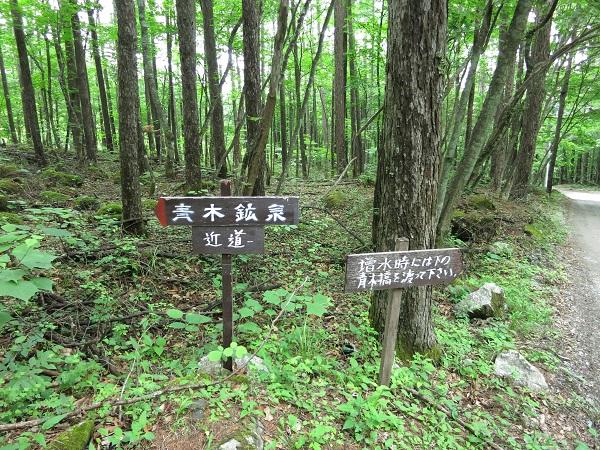 青木鉱泉近道看板