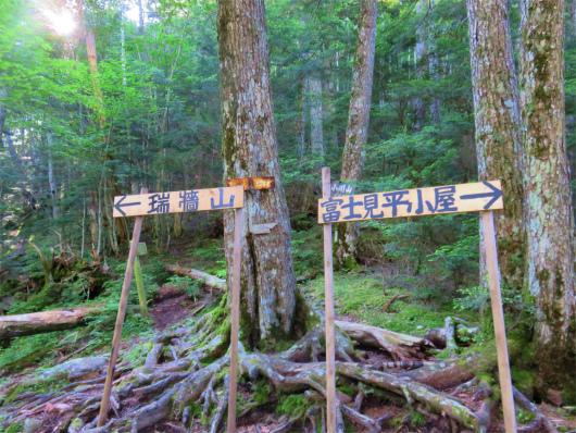 瑞牆山と小川山への分岐