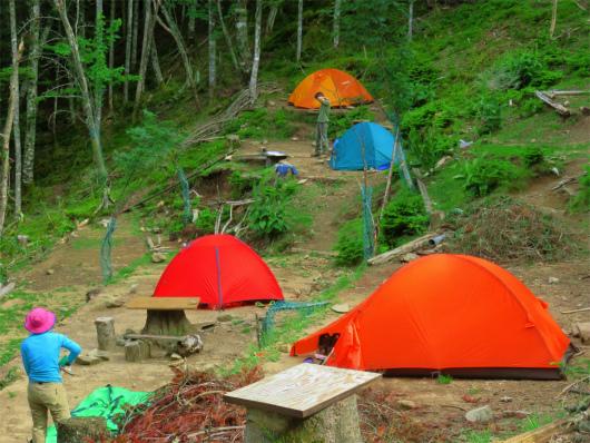 甲武信小屋のテント場とテント
