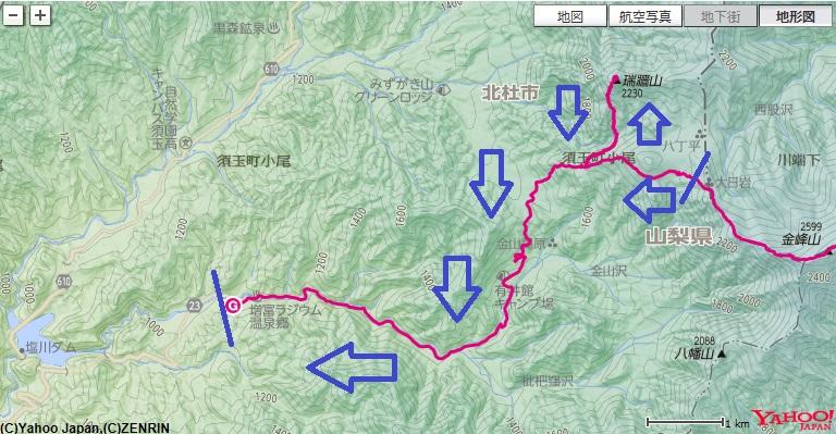 コース・標高差大日小屋から富士見平小屋~瑞牆山ピストン~増冨の湯