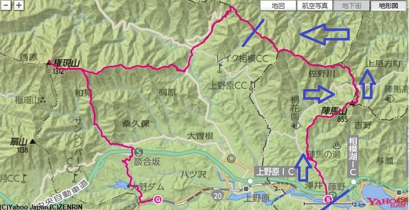 陣馬山~生藤山~三国山~軍刀利神社