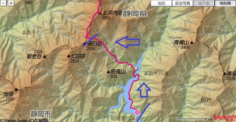 コース・標高差(畑薙ダム~横窪小屋~茶臼小屋)