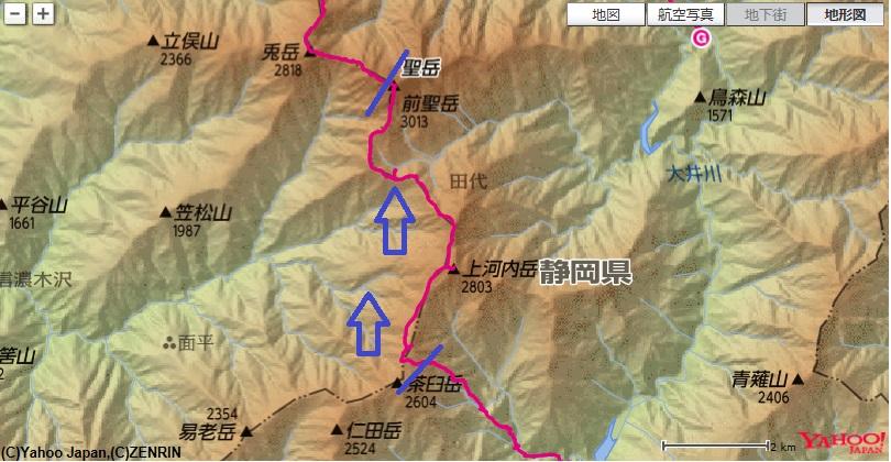 茶臼小屋から出発し、南岳~上河内岳~聖平小屋~小聖岳~聖岳まで