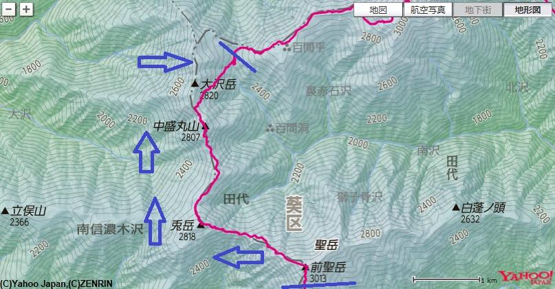聖岳~兎岳~兎岳避難小屋~小兎岳~中盛丸山~百間洞山の家