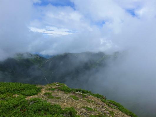 赤石岳の稜線