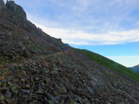 赤石岳滑落の危険個所落石に注意