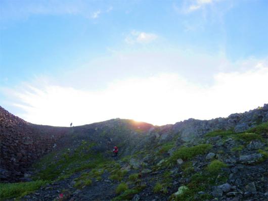 赤石岳の稜線手前