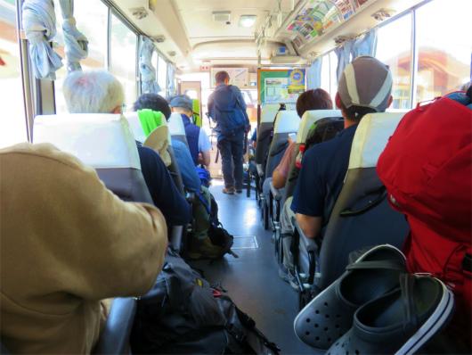 増冨の湯からバスに乗って帰路の様子