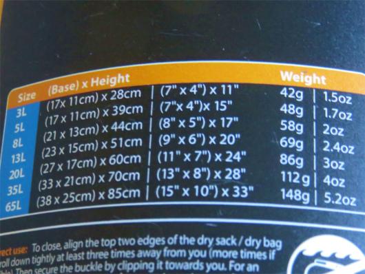 シートゥサミット防水バックサイズ一覧表