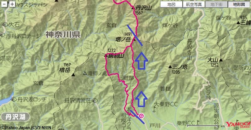 塔ノ岳(大倉尾根)の登山ルート区間