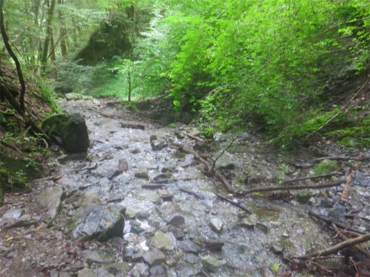 川底を歩く箇所