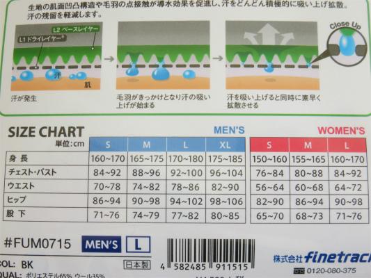 メリノスピンライトボクサーのサイズ表