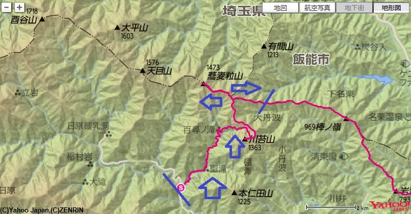 百尋ノ滝・蕎麦粒山の登山ルート
