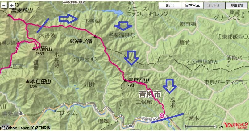 棒ノ嶺・高水三山の登山ルート