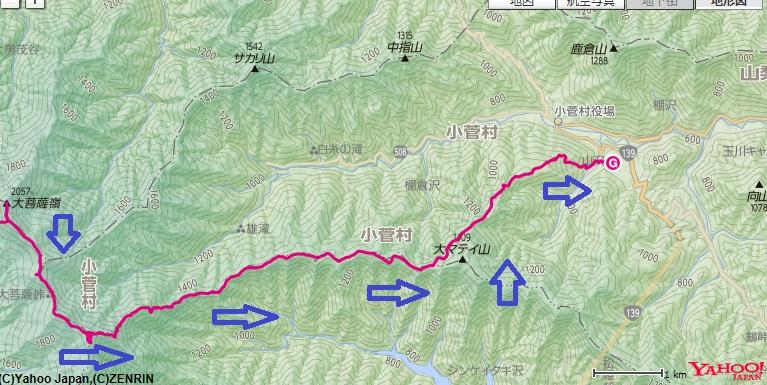 大菩薩嶺~大菩薩峠~牛ノ寝通り~小菅の湯までの登山ルート