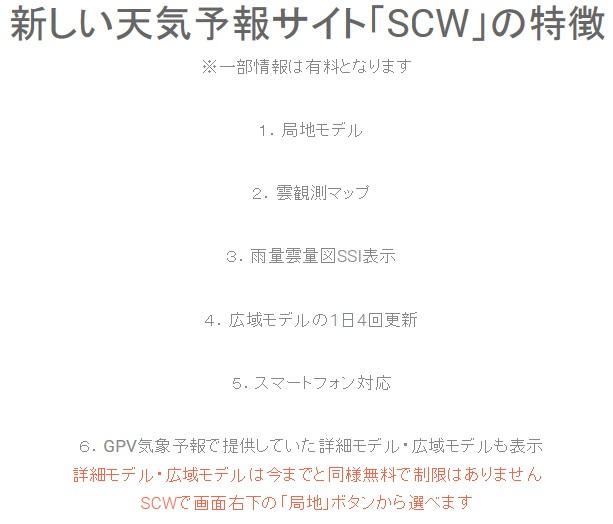 SCW(GPV)気象予報は、雨量・雲量・気圧・風速・気温・温度を、日本の地図上で見る