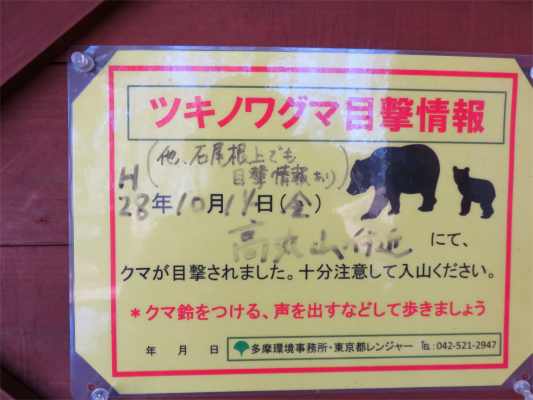 石尾根高丸山でもクマの目撃