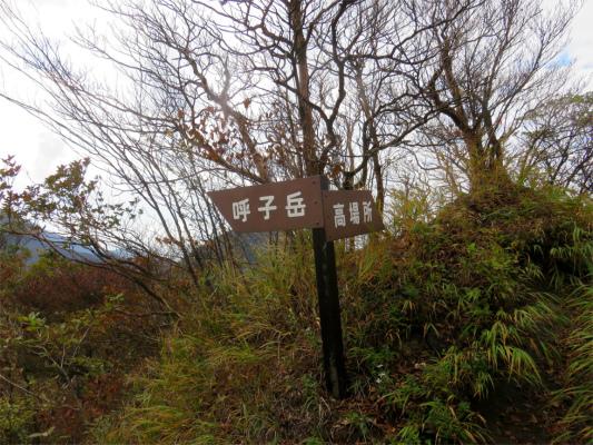 呼子岳・高場所への分岐