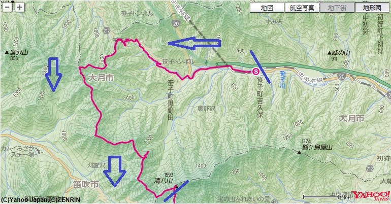 JR笹子駅~矢立の杉~カヤノキビラノ頭~大洞山~清八山への登山ルート
