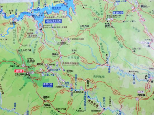 三頭山周辺の登山地図