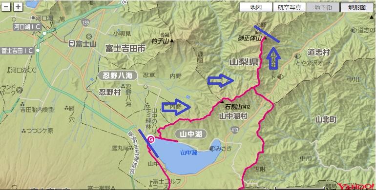 山中湖~長池山~太平山~石割山~御正体山への登山ルート